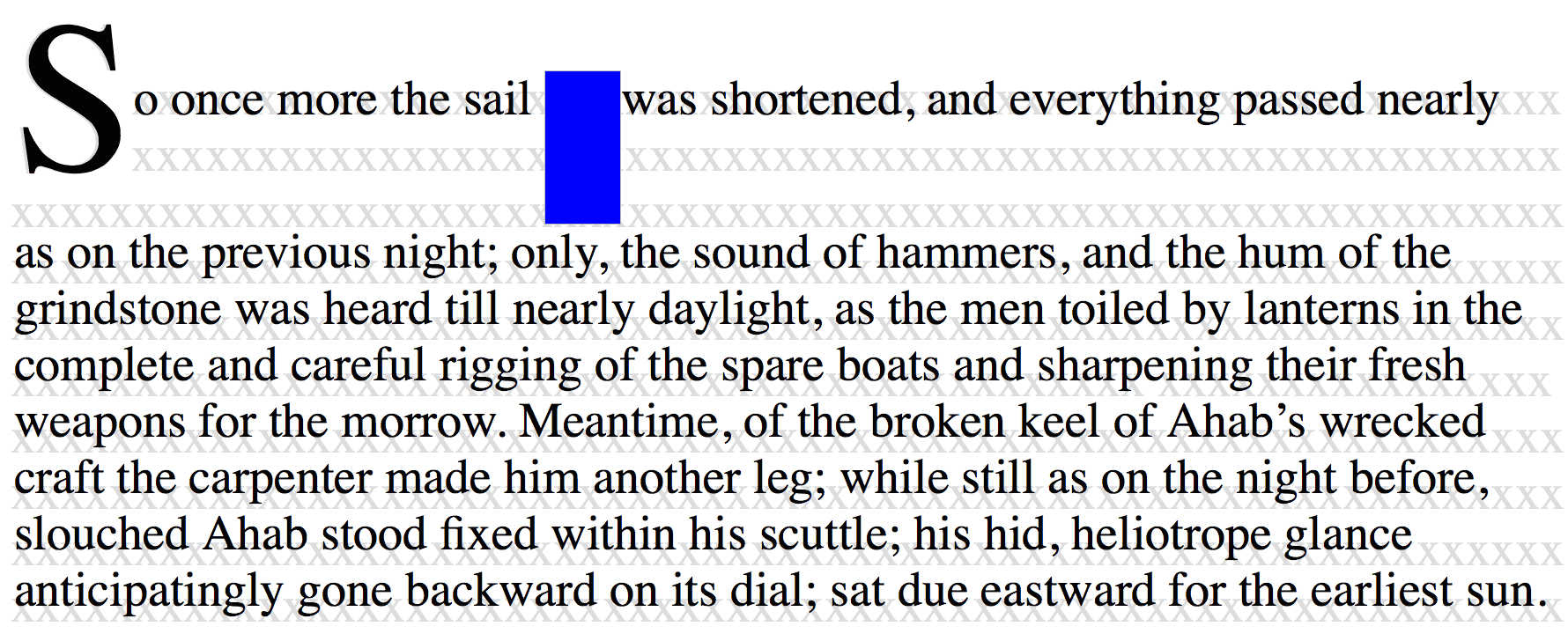 text underlay shows how initial letter alignment is not affected by the content of the spanned lines