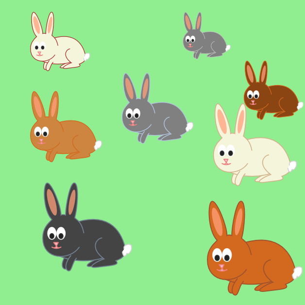 Multiple use-copies of a rabbit-symbol on a light green background; each rabbit has different=coloured fur, but the same pink noses and white fluffy tails.