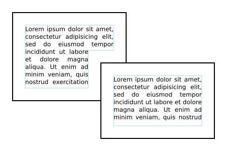 Image showing horizontal text wrapped inside two overlapping rectangles.